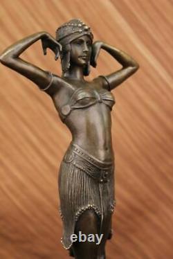 Grand Dimitri Chiparus Danseuse Art Déco Bronze Sculpture Marbre Base Figurine