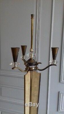 Grand Lampadaire Genet et Michon en Bronze façon Galuchat et Cristal vers 1950