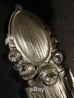 Grande Paire Dappliques Art Déco En Bronze Nickelé Et Coupelles En Verre Gravé