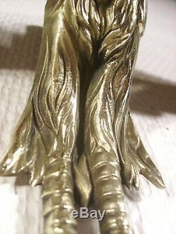 Grande paire dappliques art déco aux oiseaux en bronze et tulipes Muller Frères