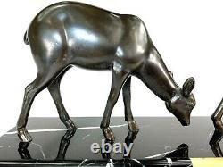 Irenee Rochard (1906-1984) Sculpture Art Deco Biches Fonte D'art Patinee Bronze