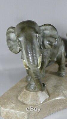 J. Brault, Groupe En Bronze, Elephant Et élephanteau, Sculpture Art Déco