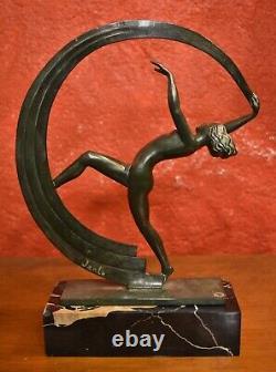 JANLE par LE VERRIER La Danseuse au ruban Sculpture en régule 1930 Art Déco