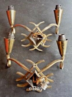 Jules LELEU attribué à, Paire d'appliques art deco, 1940-1950, pascaud, dufrene