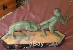KOVAS (Salvator RIOLO) Sculpture art déco La Chasse Régule à patine bronze