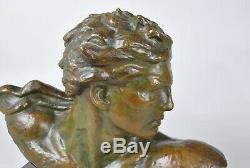 Kéléty, Buste De Jean Mermoz En Bronze, Signé, Art Déco, 20eme Siècle
