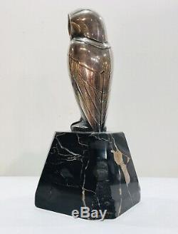 L. Rigot Sculpture Bronze Argenté dune Chouette Signé. Période Art Déco