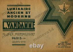 L. Vandamme & Ejg Lustre Art Déco En Bronze Nickelé Et Verreries Pressées 1930