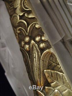 L. Vandamme Lustre Art Déco A 4 Feux En Bronze Et Verreries Pressées J. Gauthier