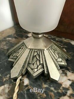 LAMPE ART DECO SIGNE MULLER TULIPE VASQUE OBUS DONNA DEGUE French Lamp LUSTRE
