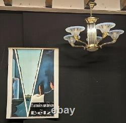 LUSTRE ART DÉCO signé PETITOT bronze verre opalescent bleu baguettes suspension
