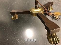 Lampadaire bronze et fer aux pieds en griffes de lion attrib André Arbus 1940