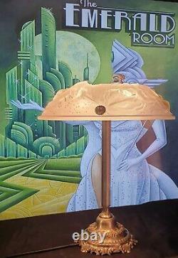 Lampe Art Déco Art Nouveau Verre Moulé Muller Frères Lunéville Bronze ou Laiton