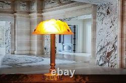 Lampe Art Déco Art Nouveau Verre Moulé signé Degué (Bronze ou Laiton)