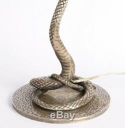 Lampe Art Deco Serpent En Bronze Argenté