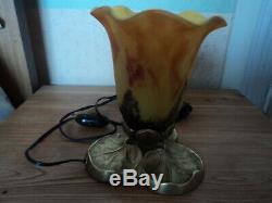 Lampe Daum Pied Bronze Art Deco Nouveau Pate De Verre Era Muller Galle Tulipe