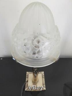 Lampe OBUS Art déco verre 1930 Degué pied bronze argenté PAIRE POSSIBLE, RARE