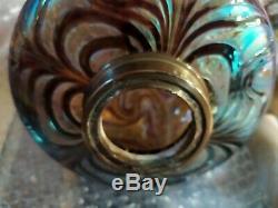 Lampe à pétrole Loetz Bronze Marbre Art Déco Verre Irisé Oil Lamp 71cm