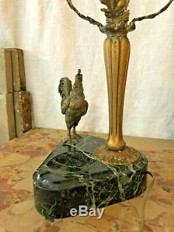 Lampe ancienne en bronze et marbre avec un coq, lamp with un cock