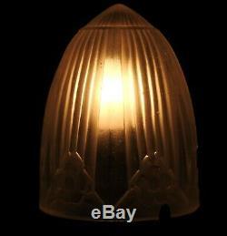 Lampe art deco bronze et bois avec obus sonover