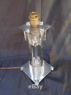 Lampe moderniste cristal bronze nickele vers 1950 attribué Jacques Adnet