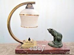 Lampe veilleuse sculpture chat bronze signé Ch Yrand époque Art Déco