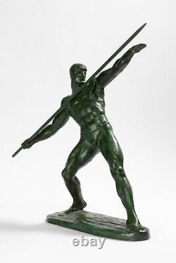 Lanceur de Javelot. Bronze Art Déco signé GUERO. Circa 1940