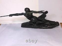 Lanceur de javelot en bronze Fonte Ancienne Art Deco Signé Max Leverrier
