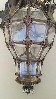 Lanterne art nouveau, bronze et cristal, modèle Versailles