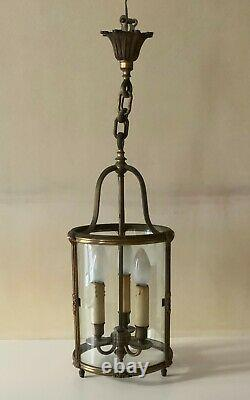 Lanterne en bronze 3 feux, Style Louis XVI, Lustre d'entrée