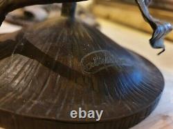 Lot de pieds de lampe art déco art nouveau en fer forgé et bronze (signé)
