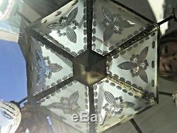 Lustre Art Deco 1920 1930, cristal taillé décor cerises, bronze argenté