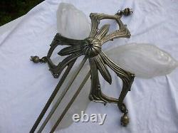 Lustre Art Deco A Plaques Monture Bronze Nickele Sans Tulipe Muller Gilles