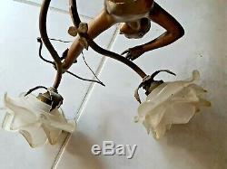 Lustre Art Déco Diane Chasseresse en régule patiné bronze 1930 rare 21981
