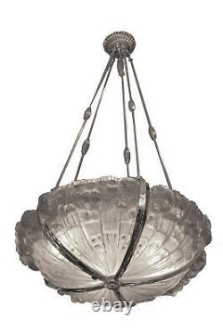 Lustre Art Déco Genet & Michon Bronze nickelé et Verre 1930
