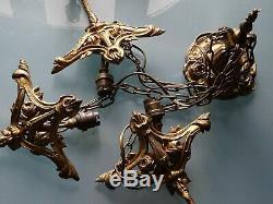 Lustre Art Deco Pate De Verre Schneider Monture Bronze
