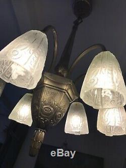 Lustre Art Deco Signe Donna Paris 1930 Tulipe Vasque Degue Muller Daum