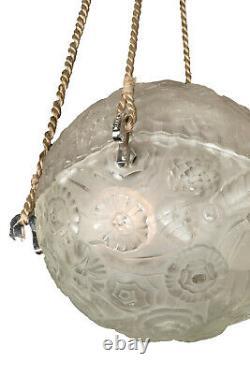 Lustre Art Déco boule Sabino Bronze nickelé et Verre 1930