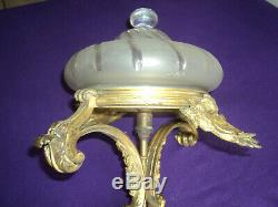 Lustre Monture Bronze Suspension Plafonnier Art Deco Nouveau Lampe