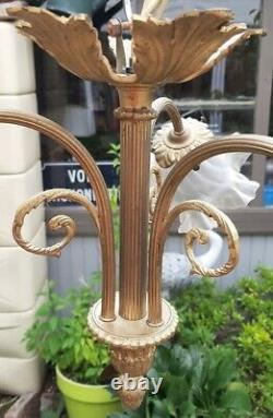 Lustre ancien art deco Bronze Tulipes verre Dépolies H30 x D45 cm