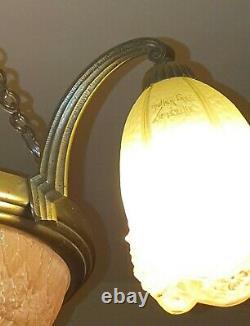 Lustre ancien art déco bronze double signature Hettier &Vincent et Muller Frères