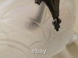 Lustre art deco 1930 monture bronze nikelé vasque + 3 tulipes tout signé L'Elf