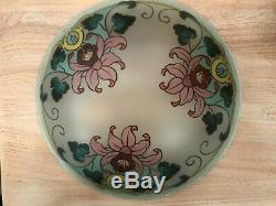 Lustre, suspension vasque peinte décorée bronze et laiton