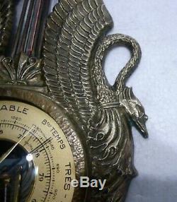 MAX LE VERRIER beau Baromètre thermomètre bronze style empire