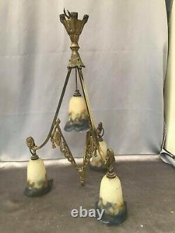 MULLER FRERES NANCY Lustre en bronze doré à quatre lumières art déco/art nouveau