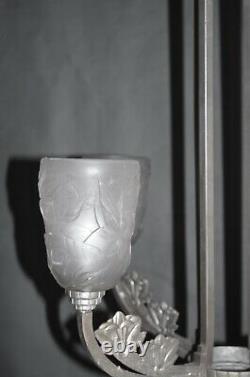 Magnifique lustre Art Déco Gilles /Robert verre moulé / bronze argente