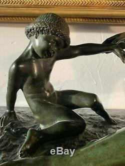 Marcel Bouraine 1886-1948 Grand bronze Art Déco a patine verte
