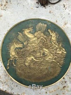 Max Le Verrier Grand plat Art Deco bronze massif Les chevaux d' Apollon Ø 33,5