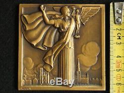 Medaille Art Deco Bronze P. Turin Exposition Internationale De Bruxelles 1935
