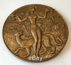Medaille En Bronze Par Guiraud @ 1989 @ Style Art Deco @ Vin, Vendange, Vignoble